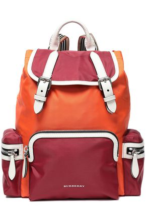 BURBERRY Leather-trimmed color-block shell backpack