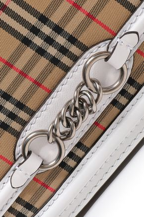 BURBERRY Leather-trimmed cotton-jacquard shoulder bag