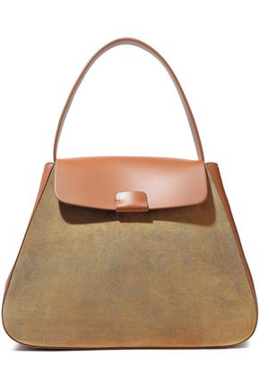 NICO GIANI Myria faux suede-paneled leather shoulder bag