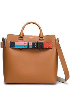 BURBERRY Textured-leather color-block shoulder bag