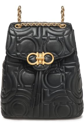 SALVATORE FERRAGAMO Chain-trimmed quilted leather backpack