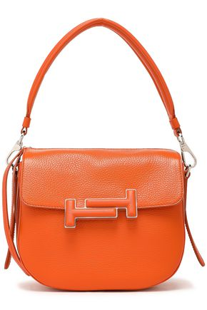 TOD'S Embellished pebbled-leather shoulder bag