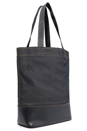 A.P.C. Axelle printed denim and leather tote