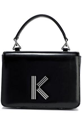 KENZO Logo-embellished glossed-leather shoulder bag