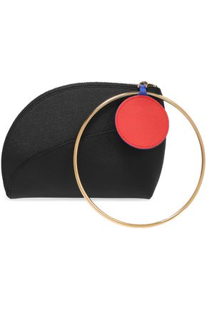 ROKSANDA Ring-embellished color-block textured-leather clutch