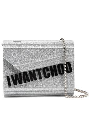 JIMMY CHOO Candy glittered coated leather shoulder bag