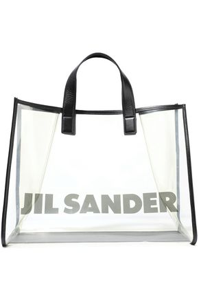 JIL SANDER Leather-trimmed printed PVC tote