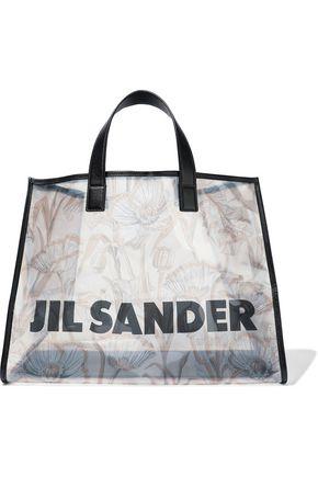 JIL SANDER Leather-trimmed logo-print PVC tote