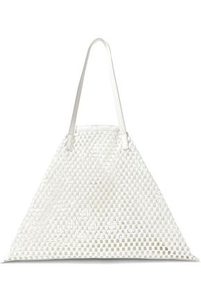 JIL SANDER Leather-trimmed crocheted tote