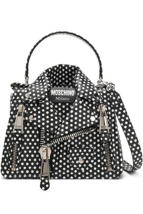 MOSCHINO Zip-detailed polka-dot leather shoulder bag