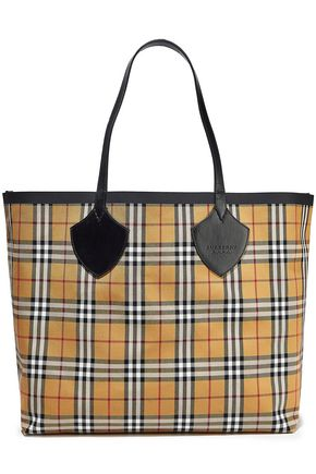 BURBERRY Giant reversible leather-trimmed checked bonded-cotton tote