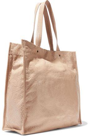 VALENTINO GARAVANI Glossed textured-leather tote