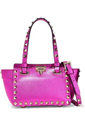 VALENTINO GARAVANI Rockstud small metallic textured-leather shoulder bag