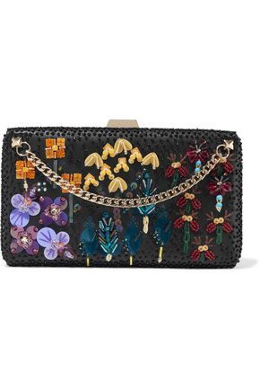 VALENTINO GARAVANI Chain-trimmed embellished leather clutch