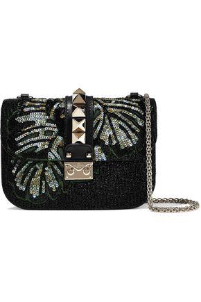 VALENTINO GARAVANI Embellished leather shoulder bag