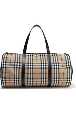 BURBERRY Leather-trimmed checked canvas weekend bag