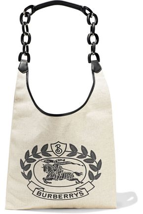 BURBERRY Archive Logo medium leather-trimmed printed canvas tote