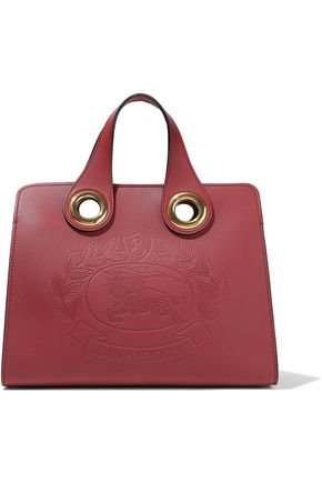 BURBERRY Crest Grommet embossed leather tote