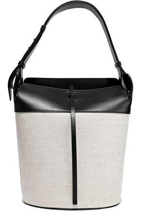 BURBERRY Leather-trimmed canvas bucket bag