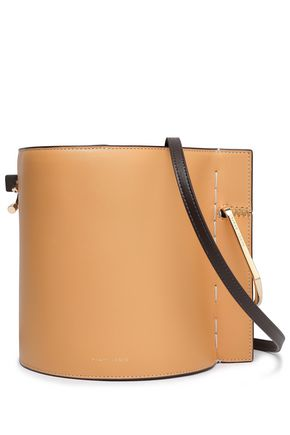 DANSE LENTE Ring-embellished two-tone leather bucket bag