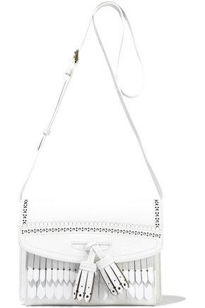 BURBERRY Fringed laser-cut textured-leather shoulder bag