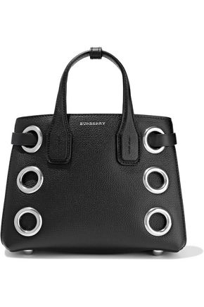 BURBERRY The Baby Banner eyelet-embellished textured-leather tote