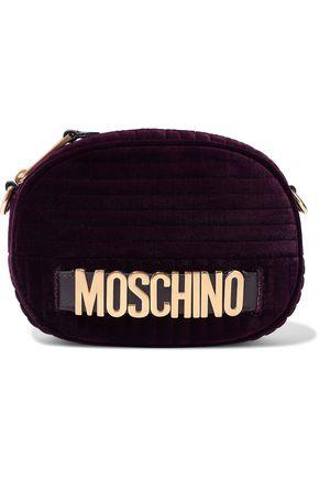 MOSCHINO Embellished leather-trimmed quilted velvet belt bag
