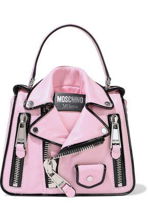 MOSCHINO Zip-embellished leather shoulder bag