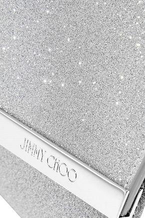 JIMMY CHOO Emmie glittered leather clutch