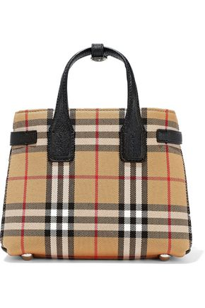 BURBERRY Textured leather-trimmed checked twill tote