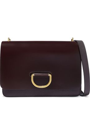 BURBERRY Glossed and textured-leather shoulder bag