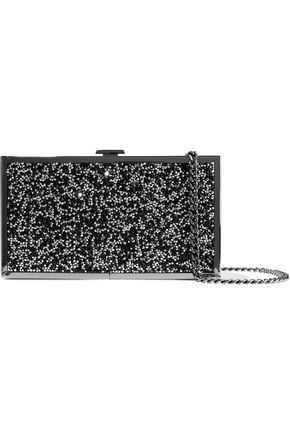 HALSTON HERITAGE Embellished woven and silver-tone box clutch
