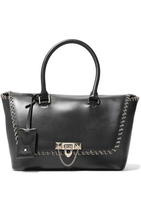 VALENTINO GARAVANI Chain-trimmed leather tote