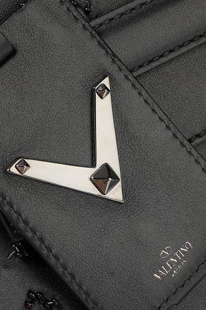 VALENTINO GARAVANI My Rockstud bead-embellished appliquéd leather tote