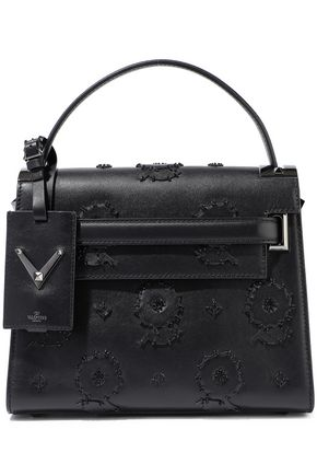VALENTINO GARAVANI My Rockstud bead-embellished appliquéd leather tote