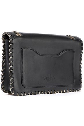 VALENTINO GARAVANI Demilune small chain-trimmed leather shoulder bag