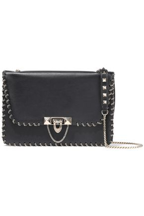 VALENTINO GARAVANI Demilune small chain-trimmed leather shoulder bag