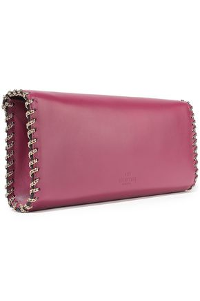 VALENTINO GARAVANI Demilune chain-embellished leather clutch