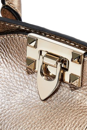 VALENTINO GARAVANI Rockstud metallic textured-leather tote