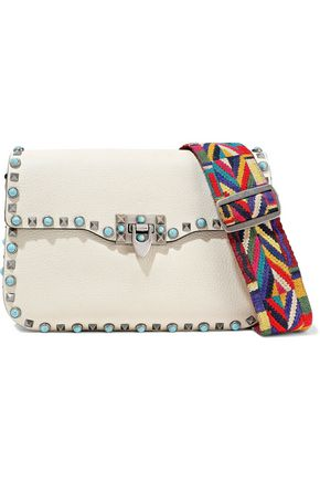 VALENTINO GARAVANI Rockstud Rolling textured-leather shoulder bag