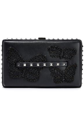 VALENTINO GARAVANI Rockstud appliquéd leather clutch