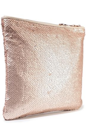 HALSTON HERITAGE Sequined satin pouch