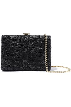 HALSTON HERITAGE Sequined leather box clutch
