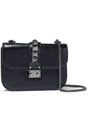VALENTINO GARAVANI Glam Lock crinkled glossed-leather shoulder bag