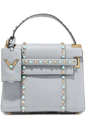 VALENTINO GARAVANI My Rockstud Rolling textured-leather tote