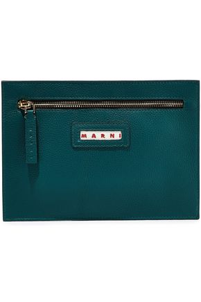 MARNI Metallic pebbled-leather pouch