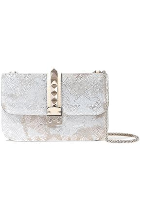 VALENTINO GARAVANI Glam Lock crystal-embellished suede and leather shoulder bag