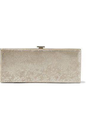 HALSTON HERITAGE Flat Minaudiere metallic suede box clutch