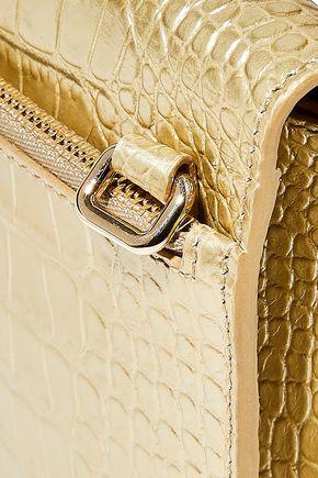 SMYTHSON Mara metallic croc-effect leather shoulder bag