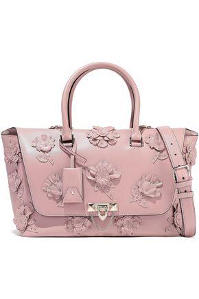 VALENTINO GARAVANI Demilune studded appliquéd leather shoulder bag